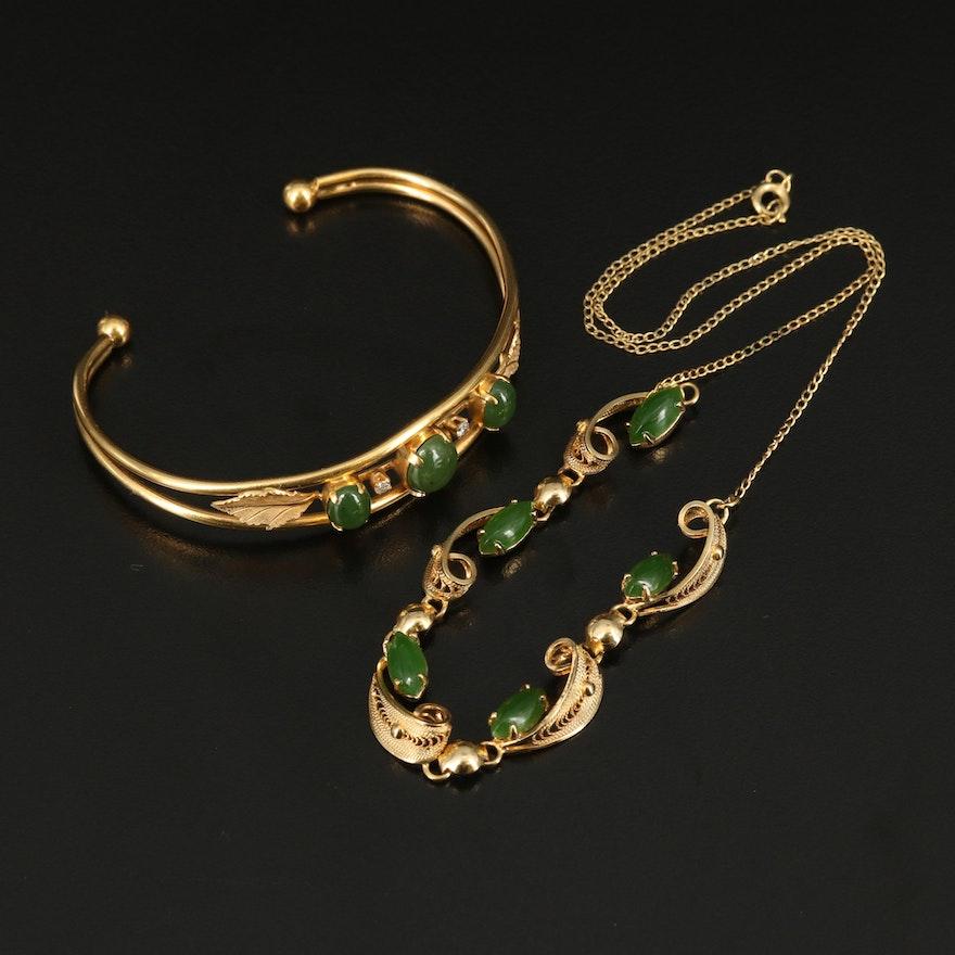 Nephrite and Diamond Foliate Cuff with Nephrite Foliate Necklace