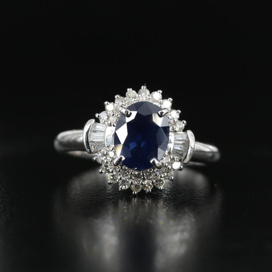 Platinum 1.50 CT Sapphire and Diamond Ring