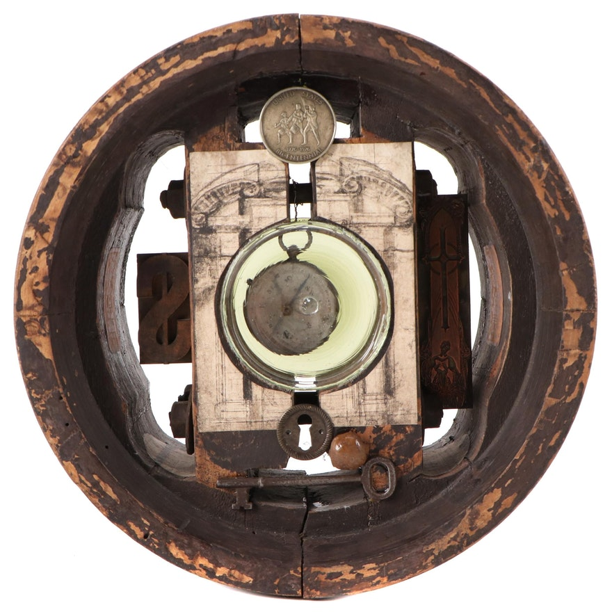 """Judy Grone Found Object Assemblage Sculpture """"Finding Your Direction"""""""