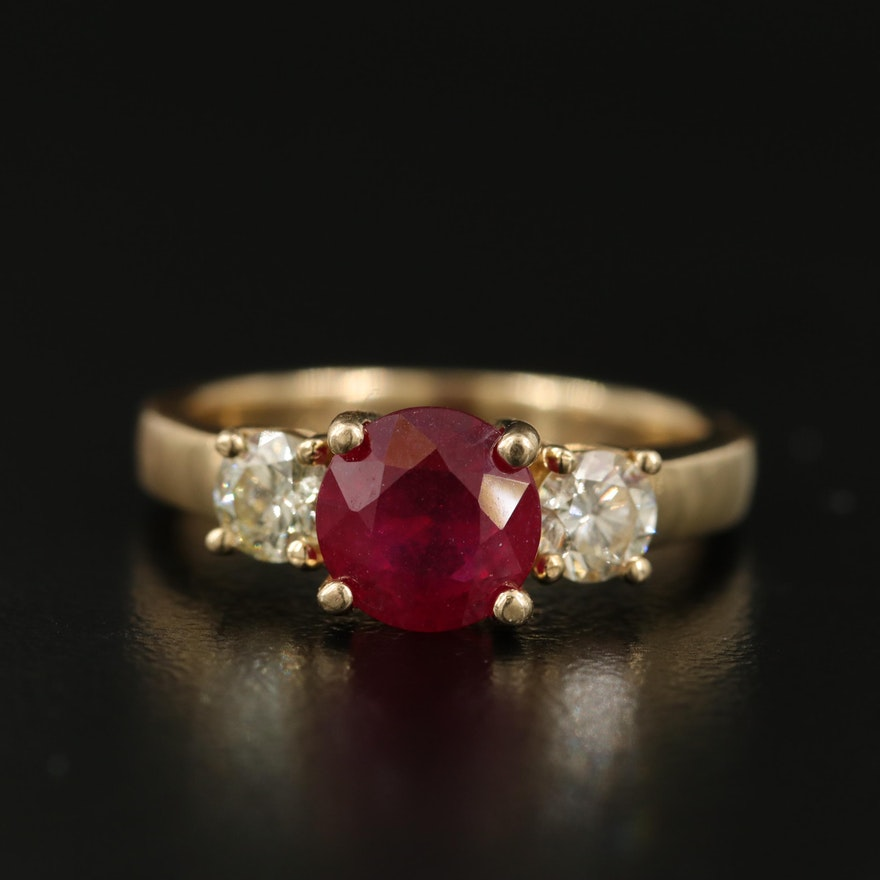 14K Corundum and Diamond Ring