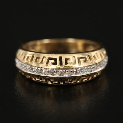 Sterling Topaz Greek Key Ring