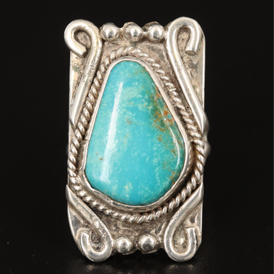 Southwestern Sterling Turquoise Rectangular Ring
