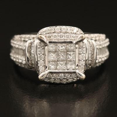 10K Invisible Set 1.24 CTW Diamond Ring