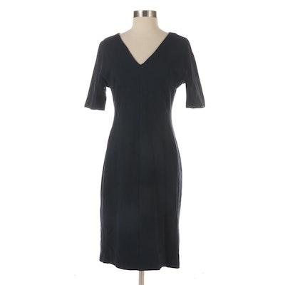 Eliza J Navy Sheath Dress with V-Cut Neckline