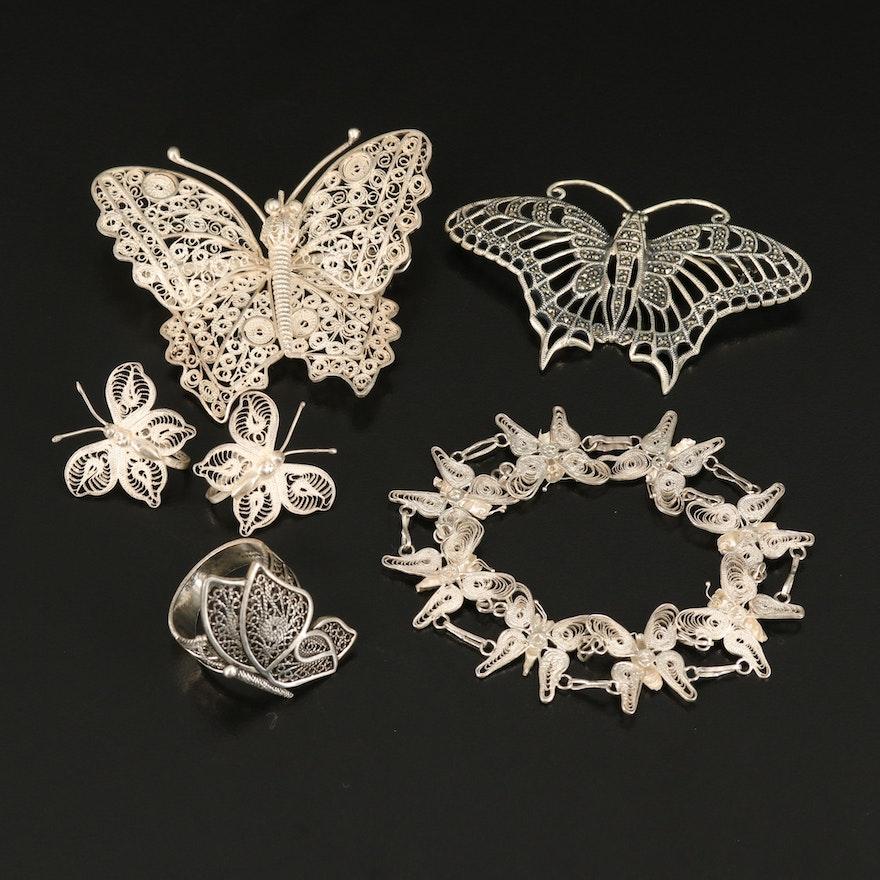 Sterling Marcastie Filigree Butterfly Jewelry