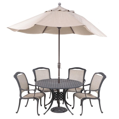 Five-Piece Cast Aluminum Patio Dining Set with Umbrella, Incl. Ballard Designs