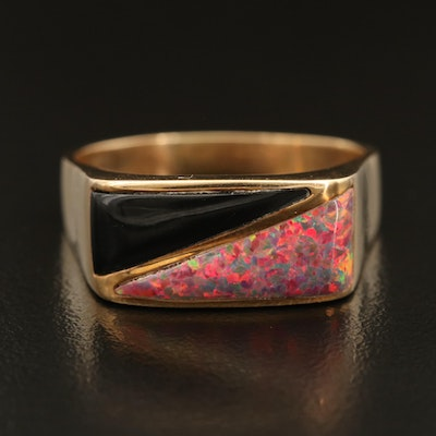Ted Ott Navajo Diné 14K Opal and Enamel Inlay Ring