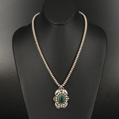 Southwestern Sterling Malachite Leaf Pendant Necklace