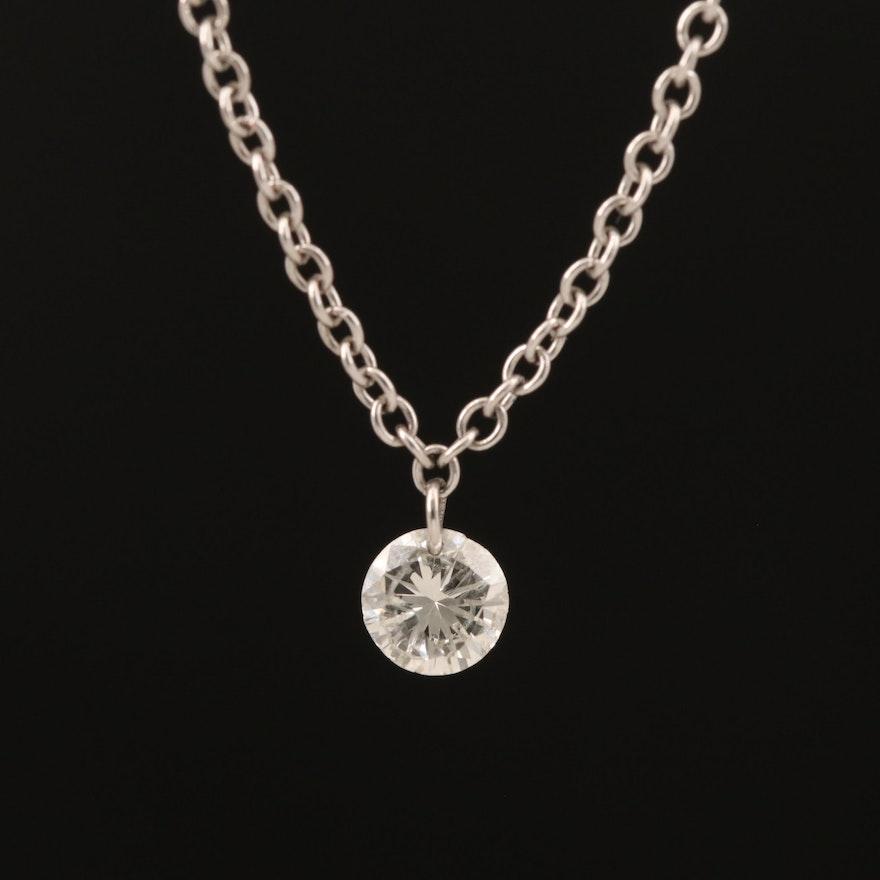 14K 0.22 CT Diamond Solitaire Necklace