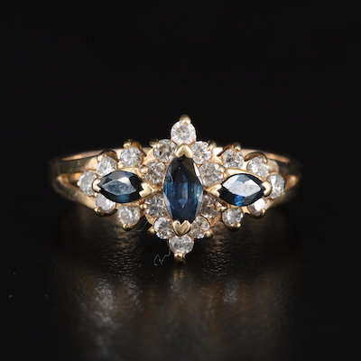 14K Sapphire and Diamond Ring with Split Shoulders