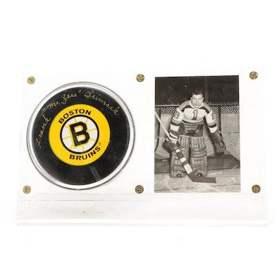 "Frank Brimsek Signed ""Mr. Zero"" Boston Bruins NHL Hockey Puck with Goalie Card"