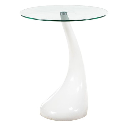 Modernist Style Composite and Glass Top Side Table