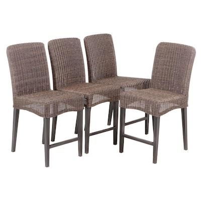 "Four Hampton Bay ""Walnut Creek"" Wicker and Patinated Metal Side Chairs"