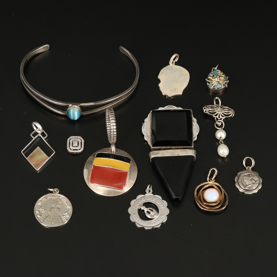 Sterling Pendants with Openwork Cuff and Geometric Brooch