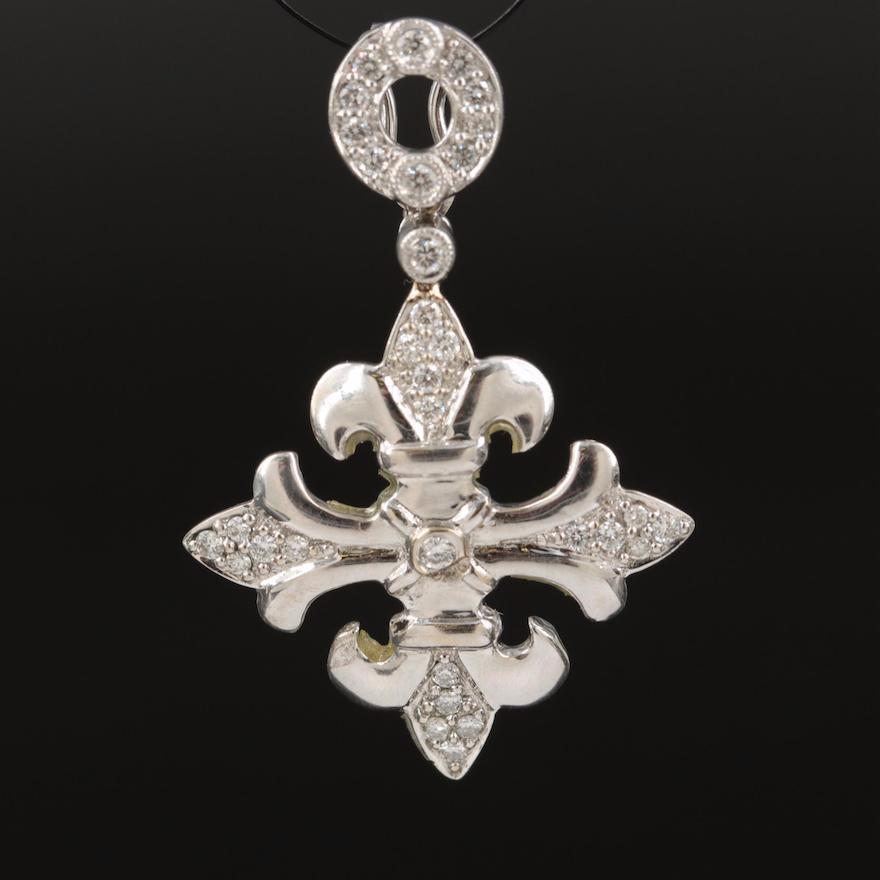 18K Diamond Patonce Cross Enhancer Pendant