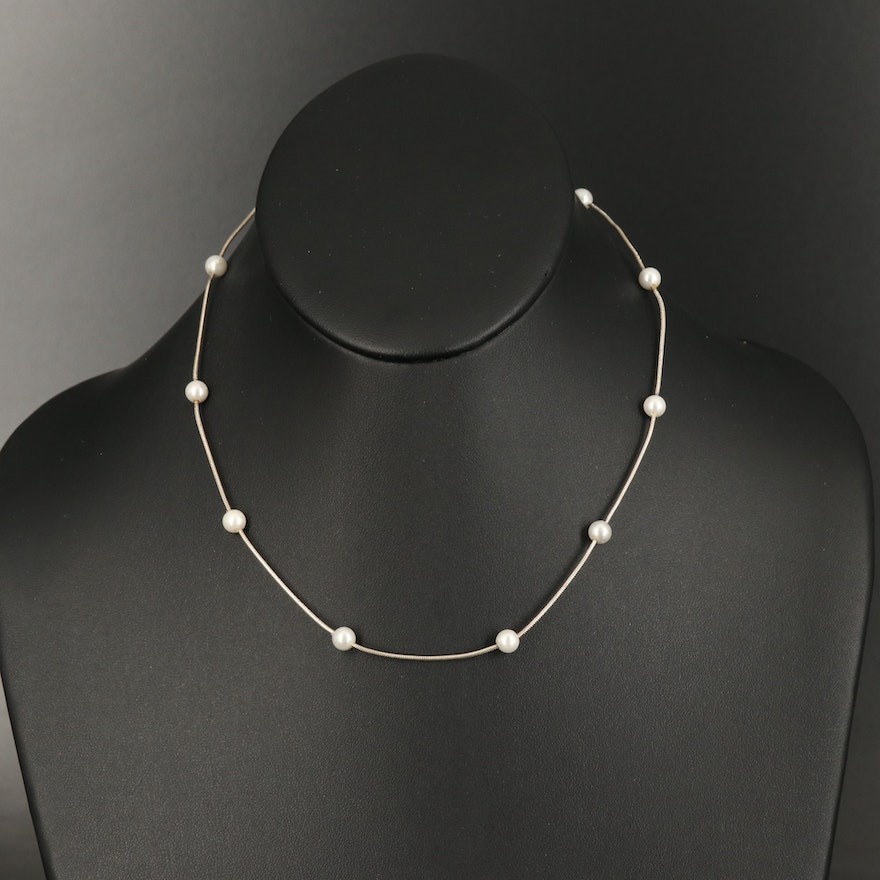 Sterling Faux Pearl Station Necklace