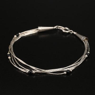 Sterling Carolyn Pollack Liquid Silver Black Onyx Station Bracelet