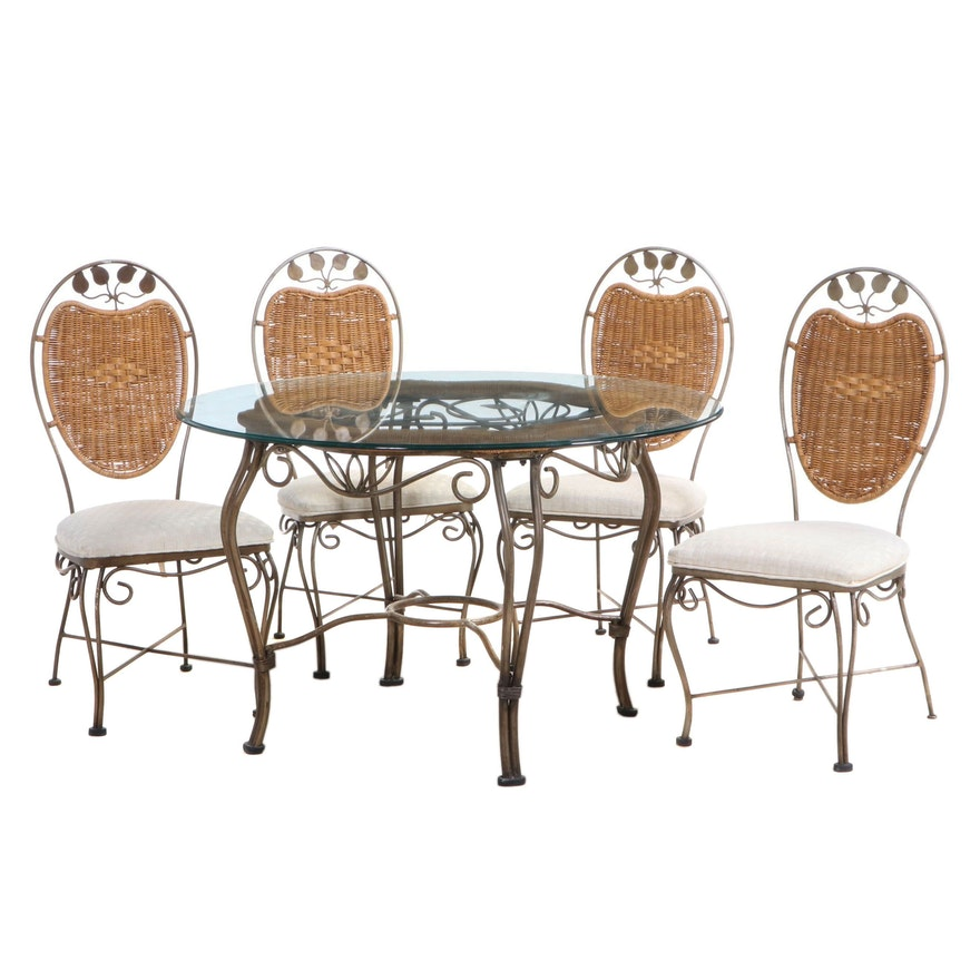 Five-Piece Universal Furniture Iron and Wicker Dining Set