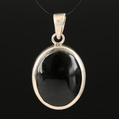 Sterling Glass Oval Bezel Pendant