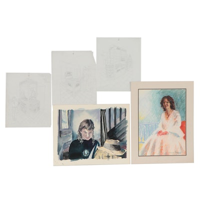 William Stavely Mixed Media Compositions, Late 20th Century