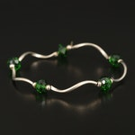 Green Glass Station Bracelet