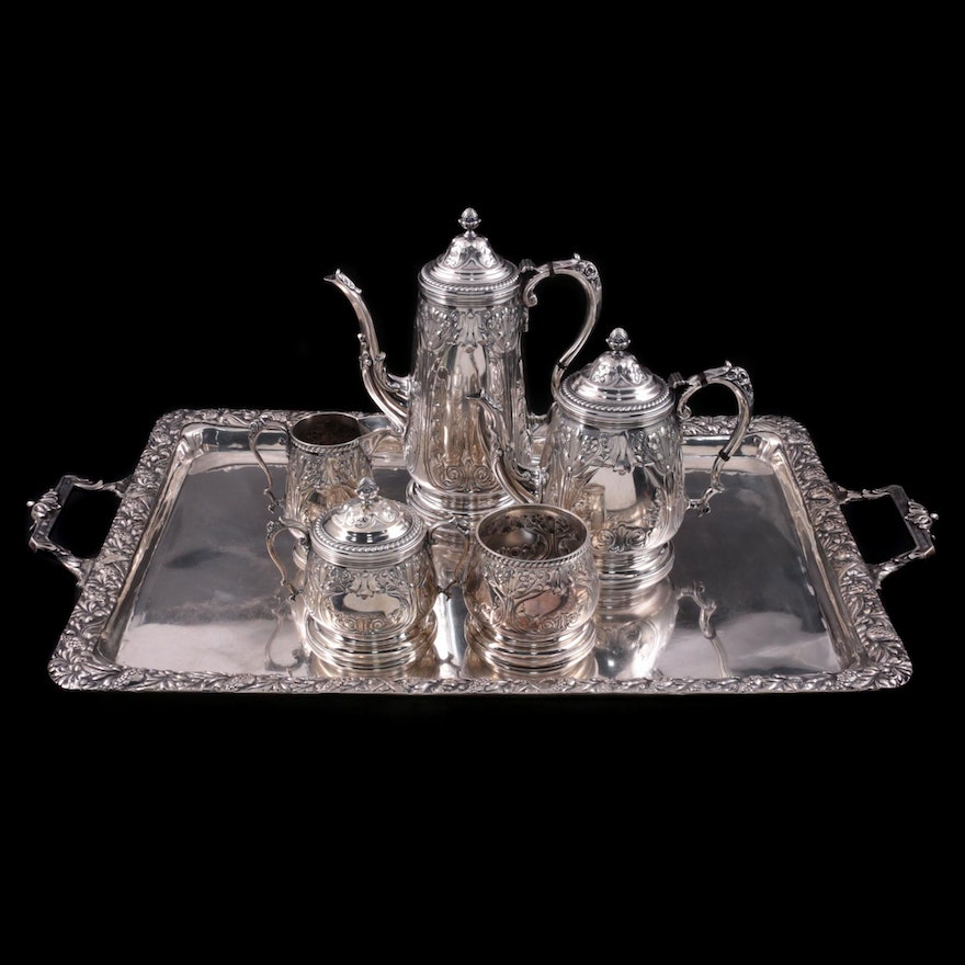 Durham Silver Co. Sterling Silver Hand-Chased Tea Set and German 800 Silver Tray