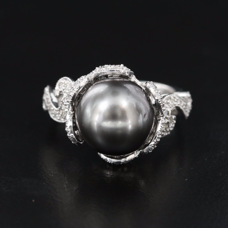14K 11.00 mm Pearl and Diamond Scrollwork Ring