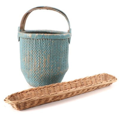 Blue Painted Wicker Handled Basket with Elongated Oval Basket