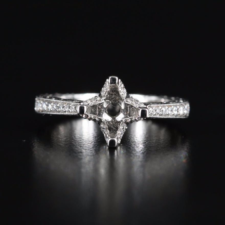 Venetti 14K Diamond Semi-Mount Ring with Milgrain Detail