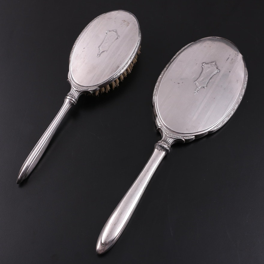 Webster Company Sterling Silver Hand Mirror and Hair Brush, Early to Mid 20th C.