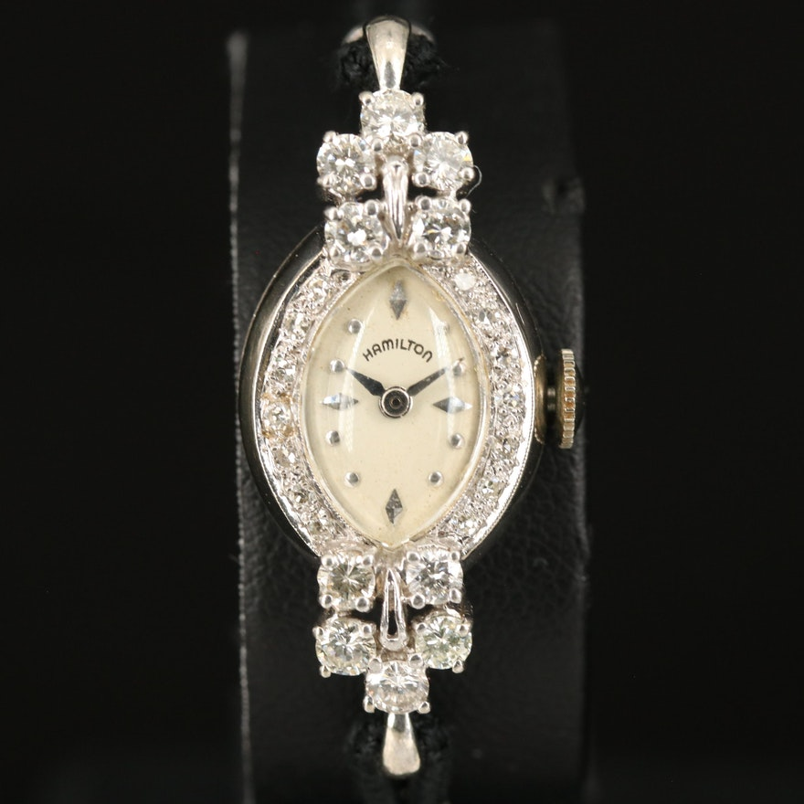 Vintage Hamilton 14K White Gold and 1.14 CTW  Diamond Stem Wind Wristwatch