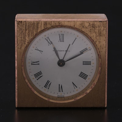 Tiffany & Co. Brass Desk Clock, Mid to Late 20th Century