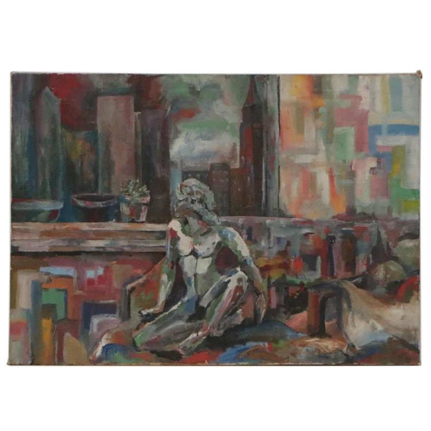 Abstract Figural Oil Painting, Late 20th Century
