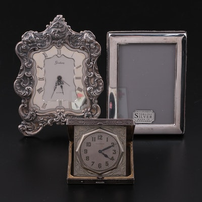 Elgin Guilloché Enameled Travel Clock and Other Sterling Silver Accessories