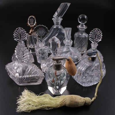 Crystal and Glass Perfume Bottles with Glass Lidded Box, 20th Century