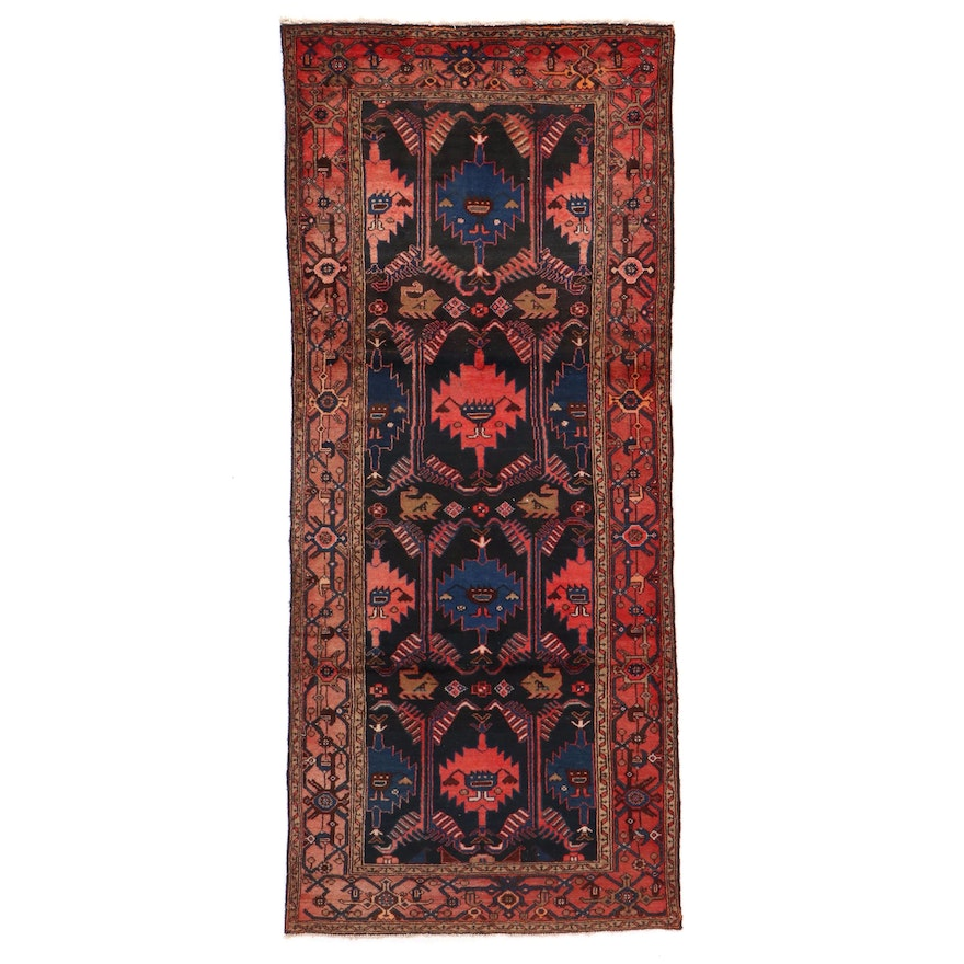 4' x 9'5 Hand-Knotted Persian Pictorial Long Rug