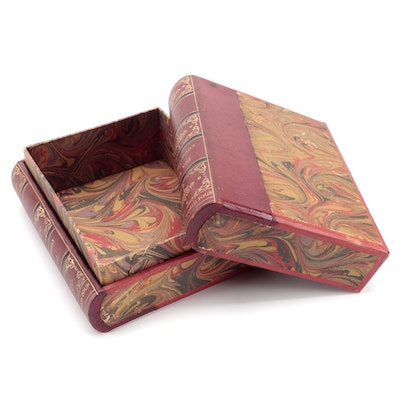 Embossed Florentine Leather and Marbled Paper Faux Book Concealed Box