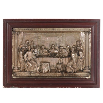 """Metal Relief Panel After """"The Last Supper,"""" Late 20th Century"""