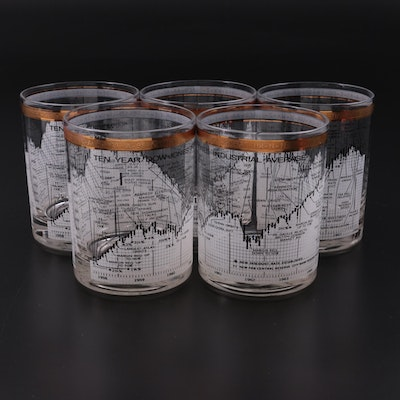 """Cera """"Dow Jones"""" Double Old Fashioned Glasses, Late 20th Century"""