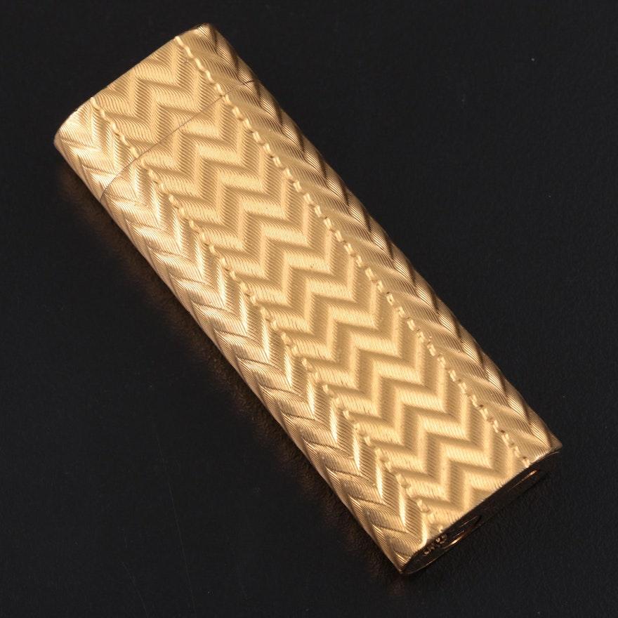 Cartier Art Deco Style Gilt Metal Guilloché Lighter