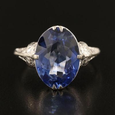 Art Deco 10K Sapphire Filigree Ring