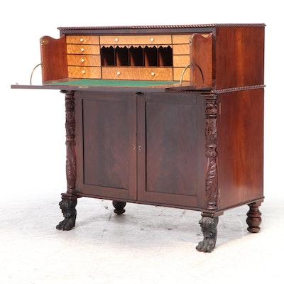 American Classical Flame Mahogany and Bird's-Eye Maple Butler's Desk, circa 1830