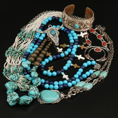 Southwestern Necklaces Including Torsade and Cuff Bracelet