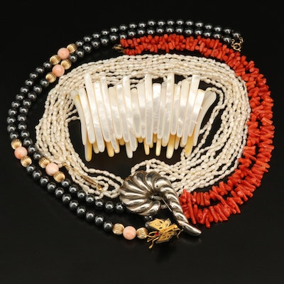 Pearl Necklaces, Bracelet and Brooches Including Coral
