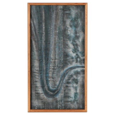 """Terry Schmitter Abstract Mixed Media Painting """"Blue Sax,"""" 1996"""