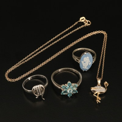 Sterling Rings and Flamingo Necklace Featuring Wedgwood Cameo Ring