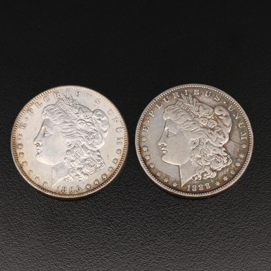 Two Morgan Silver Dollars