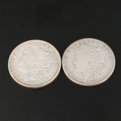 Two 1921 Morgan Silver Dollars
