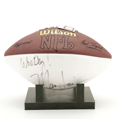 """Marvin Lewis Signed """"Who Dey!"""" Wilson NFL Football and Display Stand"""