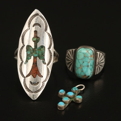 Southwestern Sterling Rings and Turquoise Cross Pendant Featuring Peyote Bird